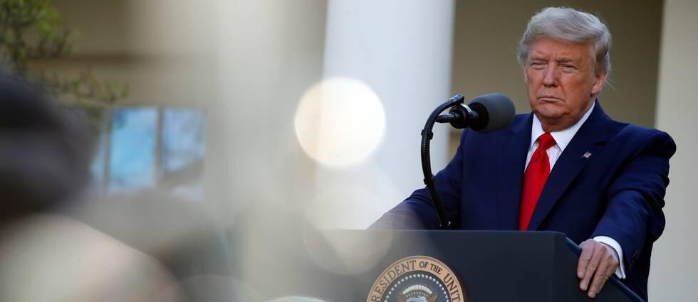 Donald Trump under en av sina dagliga presskonferenser om coronapandemin i USA.