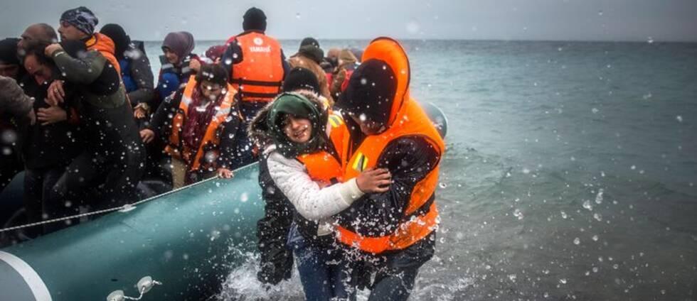 Flyktingar och migranter anländer till grekiska ön Lesbos i början av januari 2016. Arkivfoto.