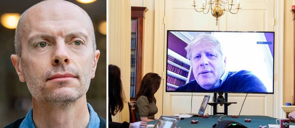 Till höger Boris Johnson som leder ett möte från corona-karantänen den 28 mars. Nicholas Aylott (t.v), docent i statsvetenskap på Södertörns Högskola, konstaterar att det är en unik situation att en sittande brittisk premiärminister nu tas in för intensivvård.