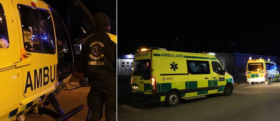Flera ambulanser, inklusive ambulanshelikopter, kallades till platsen under torsdagskvällen.