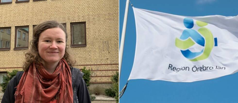 ör Ylva Gullberg, utvecklingsledare av solel på Region Örebro till vänster och Regionens flagga till höger