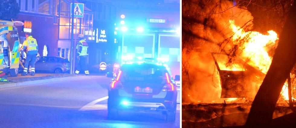 Till vänster polis och ambulans på plats på Koppargatan i Norrköping där den misstänkte skottlossningen skedde. Till höger den brinnande bilen i Åby som utreds för eventuellt samband med brottet.