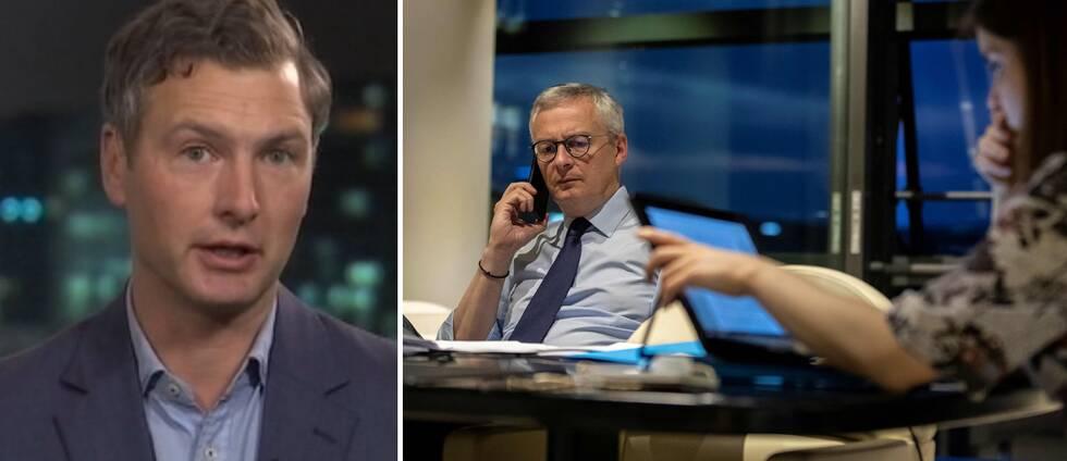 SVT:s Europakorrespondent Christoffer Wendick (t.v). T.h Frankrikes finansminister Bruno Le Maire under telefonmötet med de övriga finansministrarna i EU.