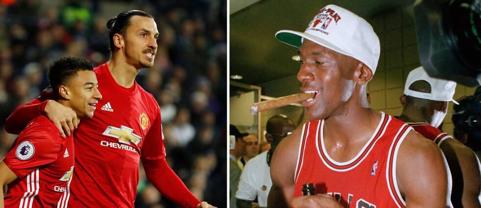 Jesse Lingard, längst till vänster, jämför sin förre lagkamrat Zlatan Ibrahimovic med basketikonen Michael Jordan.