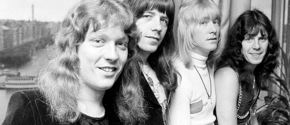 The Sweet på Sverigebesök under storhetstiden i oktober 1974. Fr.v Steve Priest, Andy Scott, Brian Conolly och Mick Tucker.