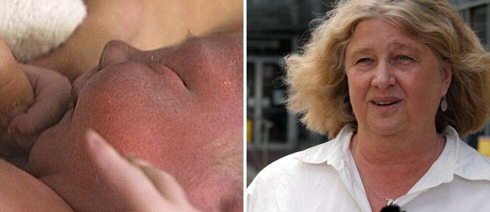 En nyfödd på förlossningen i splitt med Eva Nordlund från förbundet.