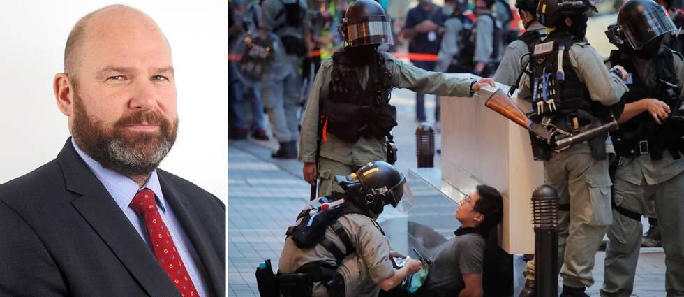 """Niklas Swanström beskriver Kinas nya säkerhetslag i Hongkong som """"väldigt långtgående"""". Bild från protester i Hongkong 1 juli, när den nya lagen trädde i kraft."""