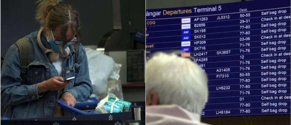 Kvinna med munskydd står och tittar ner i sin mobil. Till höger en man som står framför avgångstavlan på Arlanda.