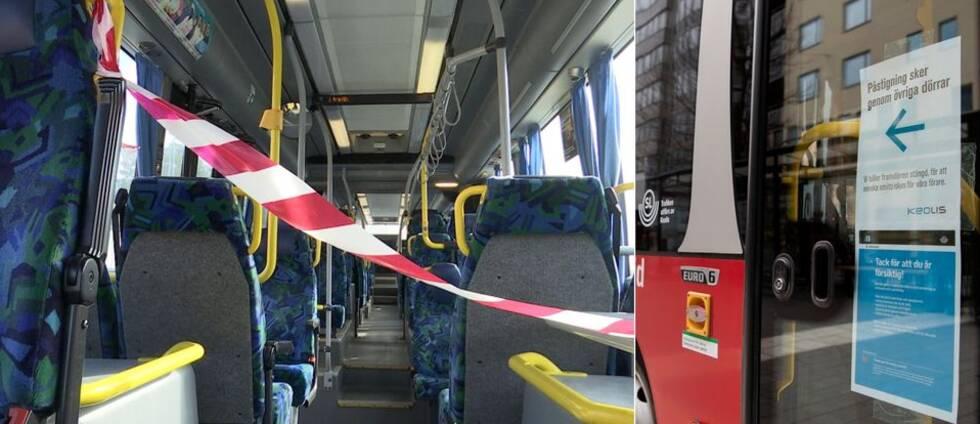 En tom SL-buss med röd-vit avspärrningstejp fäst tvärs över mittgången.