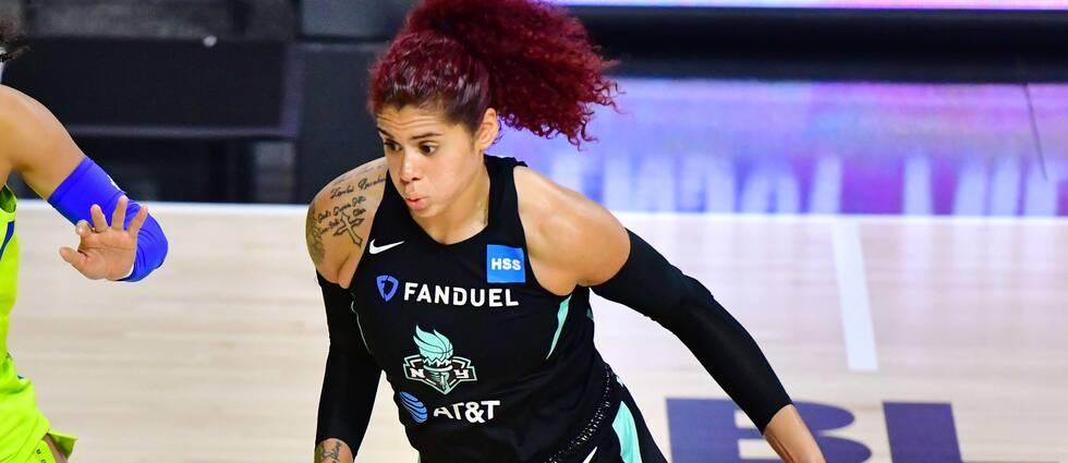 New York Libertys Amanda Zahui under en WNBA-match i juli. Arkivbild.