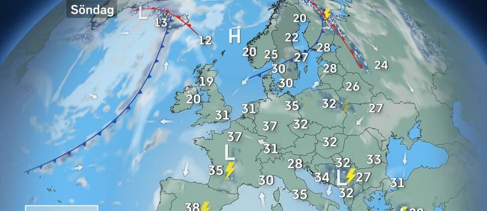 Söndagens Europautsikter: I hettan över kontinenten kommer det på sina platser att bildas kraftiga värmeåskväder med hagel. Lokalt kan säkert också någon tromb ställa till oreda. Men på de flesta platser kommer det vara lugnare den tryckande värmen till trots. Svalare luft tar tillbaka förlorad mark över Skandinavien.