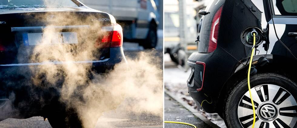 Bil som ger ifrån sig mycket avgaser och en elbil på laddning.