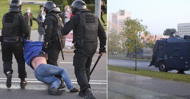 Polis sköt med vattenkanon mot demonstranter i Belarus