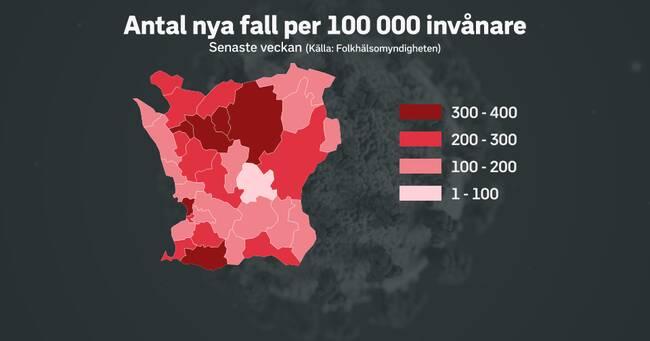 Så ser smittspridningen ut i din kommun i Skåne