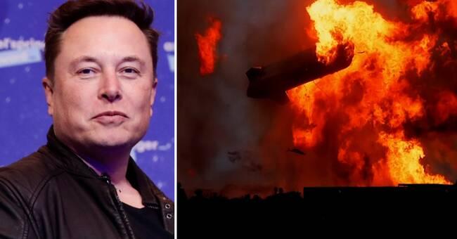 Här exploderar rymdraketen strax efter landning