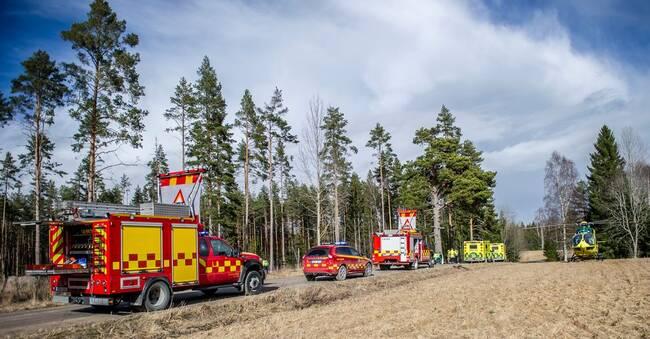 Allvarlig trafikolycka utanför Horndal – ambulanshelikopter på plats