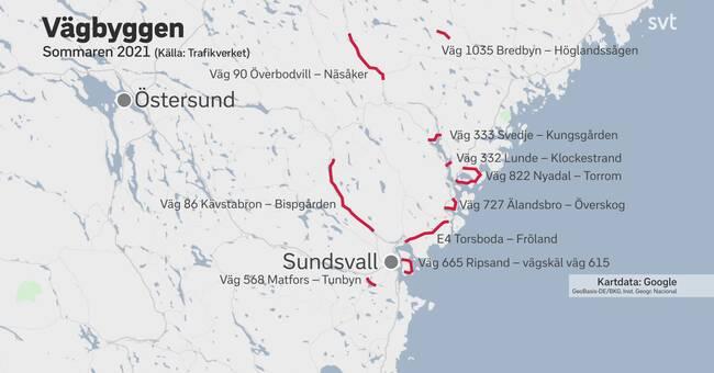 Lista: Detta är sommarens vägarbeten i Västernorrland