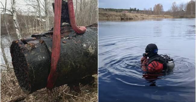 Dykaren Robert rensar skräp i Ovanåkers vatten