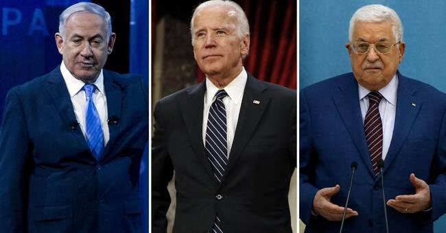 Biden i samtal med Benjamin Netanyahu och Mahmoud Abbas
