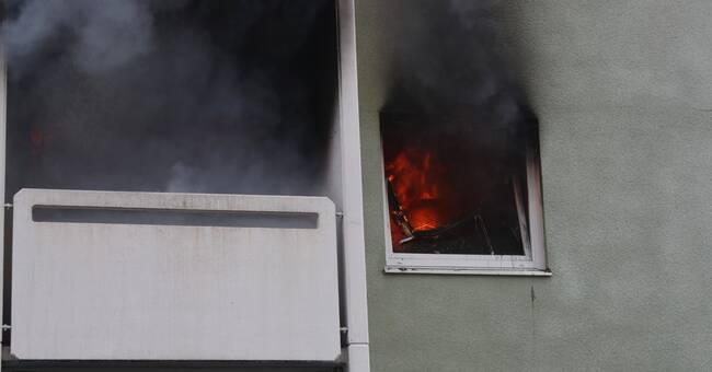 Lägenhetsbrand i centrala Lidköping