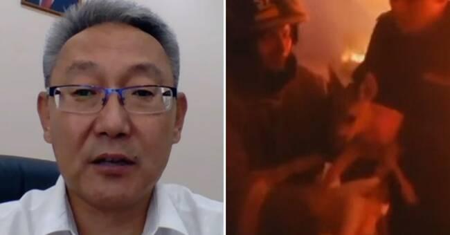 Volontärer kämpar förgäves mot skogsbränderna i Sibirien