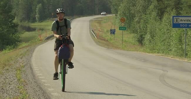 """LTU-Studenten Markus cyklar 220 mil på enhjuling: """"Kul utmaning"""""""