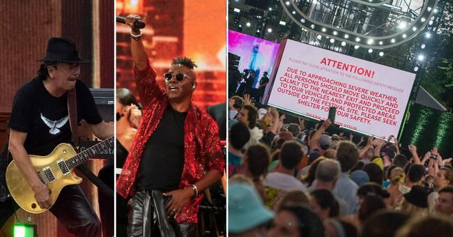 """Ikoniska konserten stoppades av ovädret: """"Vänligen sök skydd"""""""