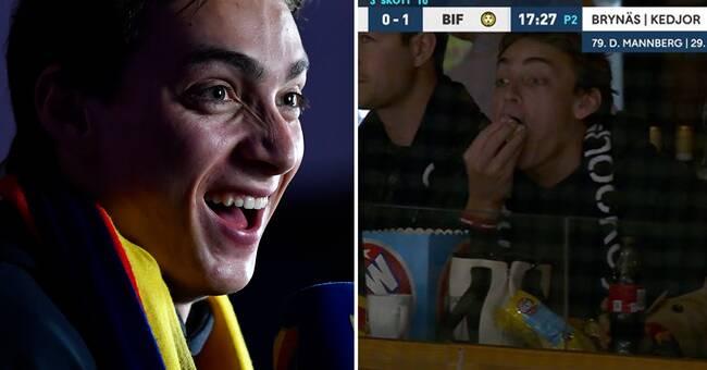 Här njuter Armand Duplantis på Hovet – med popcorn och hockey