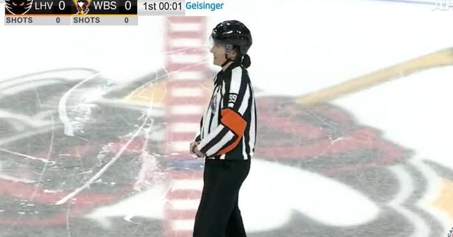 Katie Guay blev första kvinna att döma i AHL