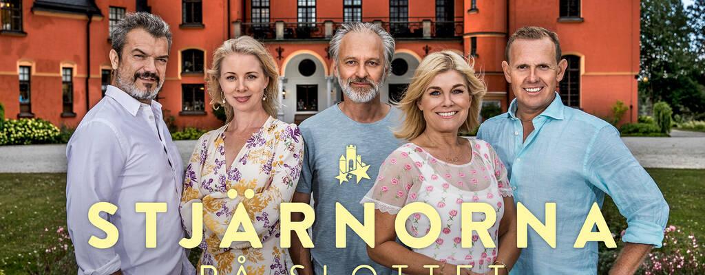 Dragomir Mrsic, Julia Dufvenius Wollter, Björn Kjellman, Pernilla Wahlgren och Måns Möller i Stjärnorna på slottet.