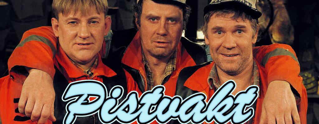 Olle (Tomas Norström), Sven-Erik (Lennart Jähkel) och Jan-Erik (Jacob Nordenson) i serien Pistvakt.