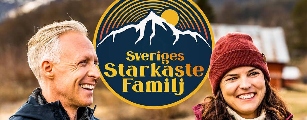 André Pops och Sanna Kallur, programledare för Sveriges starkaste familj.