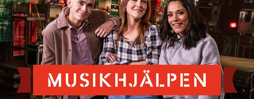Felix Sandman, Brita Zackari och Farah Abadi i Musikhjälpen.