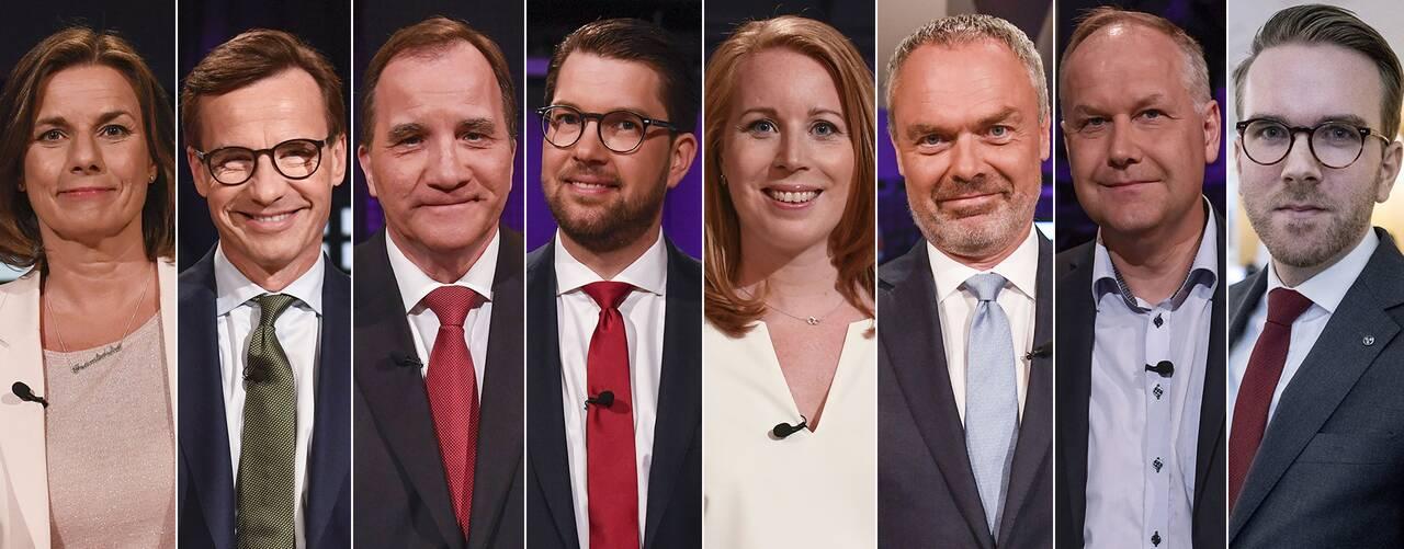 Isabella Lövin (MP), Ulf Kristersson (M), Stefan Löfven (S), Jimmie Åkesson (SD), Annie Lööf (C), Jan Björklund (L), Jonas Sjöstedt (V) och Andreas Carlson (KD) möts i debatt i riksdagen.
