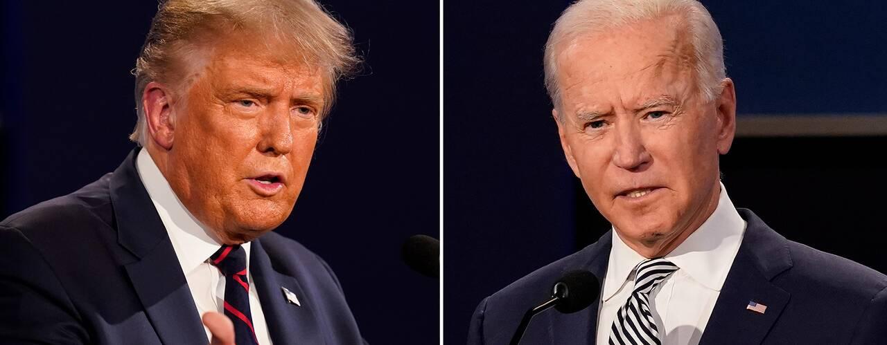 President Donald Trump och utmanaren Joe Biden under deras första debatt den 29 september.
