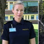 Polis Alexandra Bergström och olycksbilen på en bärningsbil.