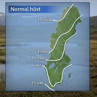Höstens normala ankomst under referensåren 1961–1990.