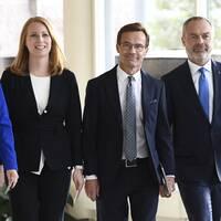 Samtliga partiledare i Alliansen på bilden.