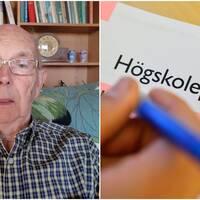 Gordon Grönberg sitter i rutig skjorta och glasögon framför sin bokhylla.