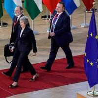 Storbritanniens premiärminister Theresa May promenerar förbi EU-flaggor.