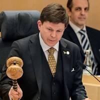 Talman Andreas Norlén klubbar nomineringen av Stefan Löfven till statsministeromröstningen på fredag.
