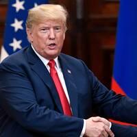 USA:s president Donald Trump och Rysslands president Vladimir Putin på presskonferensen efter deras toppmöte i Helsingfors den 16 juli 2018.