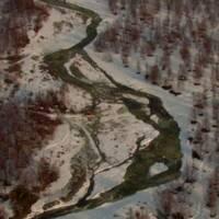flygbild över skogslandskap med snö och en led över ett större vattendrag