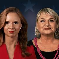 Kristdemokraternas toppkandidat till EU-parlamentsvalet Sara Skyttedal och Feministiskt initiativs toppkandidat Soraya Post frågas ut av programledarna Anders Holmberg och Camilla Kvartoft.