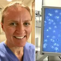 Helena Kopp Kallner och spermier på en skärm