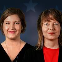 Liberalernas toppkandidat till EU-parlamentsvalet Karin Karlsbro och Vänsterpartiets toppkandidat Malin Björk frågas ut av programledarna Anders Holmberg och Camilla Kvartoft.