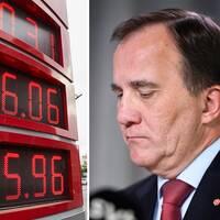 Bild på bensinstation och bild på Stefan Löfven.