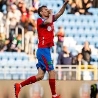 Helsingborgs Andri Bjarnason efter 1-1-målet i matchen mot Falkenberg.