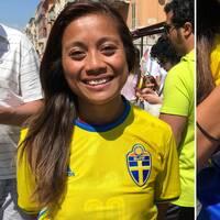 Filippa Saiyawong, som flydde till Sverige 1992, tränade med Thailands VM-lag men kom aldrig med i truppen. Nu är Saiyawong, som till vardags spelare i division 1 i Sverige, på plats i Nice för att stötta Sverige – och Thailand.
