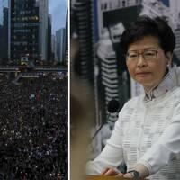 Ett hav av demonstranter i Hongkong och Carrie Lam.